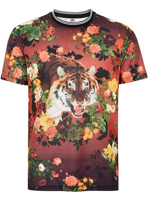 TOPMAN Synthetic Black Tiger Floral T-shirt for Men - Lyst